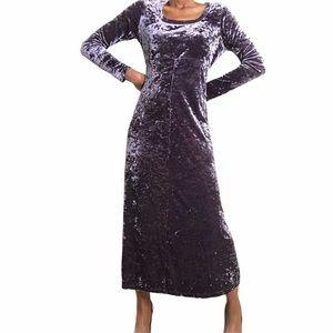 VINTAGE | Crushed Velvet Purple Maxi Dress